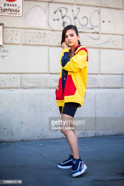 Guest wearing Fila yellow and red jacket is seen before the Fila show during Milan Fashion Week Spring/Summer 2019 on September 23 2018 in Milan Italy