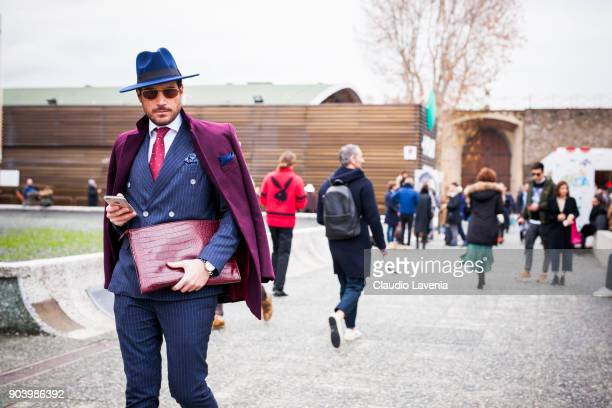A guest wearing gentleman outfit is seen during the 93 Pitti Immagine Uomo at Fortezza Da Basso on January 11 2018 in Florence Italy