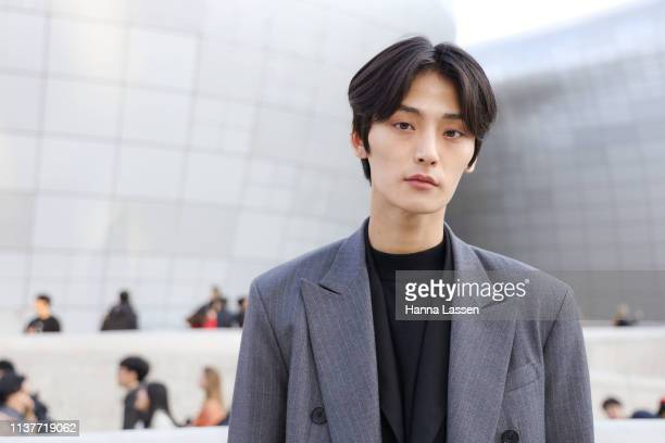 Guest wearing grey suit is seen at the Hera Seoul Fashion Week 2019 F/W at Dongdaemun Design Plaza at Dongdaemun Design Plaza on March 23 2019 in...