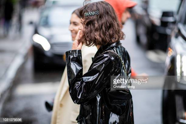 A guest wearing hair clip saying thanks is seen outside 31 Phillip Lim during New York Fashion Week Spring/Summer 2019 on September 10 2018 in New...