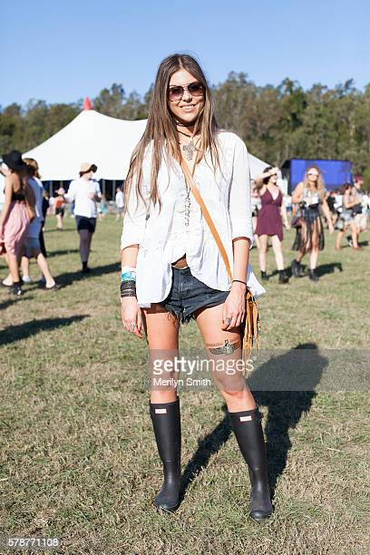 Guest wearing Hunter gumboots during Splendour in the Grass 2016 on July 22 2016 in Byron Bay Australia