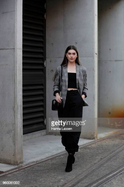 A guest wearing IAmGia pants during MercedesBenz Fashion Week Weekend Edition 2018 at Carriageworks on May 19 2018 in Sydney Australia