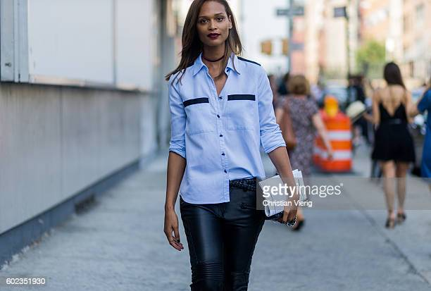 A guest wearing leather pants outside Lacoste on September 10 2016 in New York City