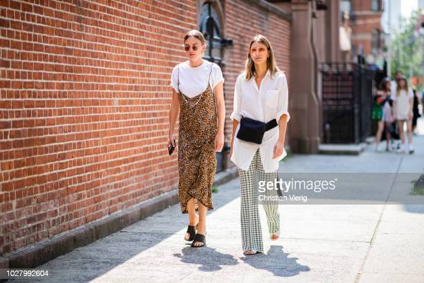 A guest wearing leopard dress silver bag white tshirt is seen outside Collina Strada during New York Fashion Week Spring/Summer 2019 on September 6...