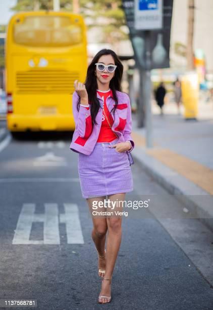 A guest wearing mini skirt jacket seen at the Hera Seoul Fashion Week 2019 F/W at Dongdaemun Design Plaza at Dongdaemun Design Plaza on March 22 2019...