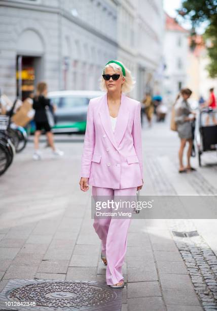 b21f9f62c1598 A guest wearing pink oversized suit seen outside Blanche during the Copenhagen  Fashion Week Spring