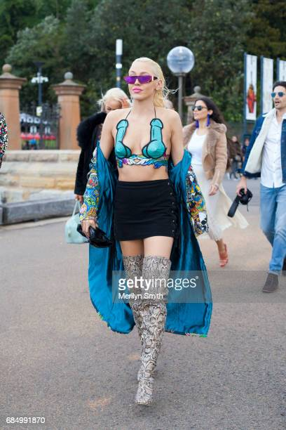 Guest wearing sequin top during MercedesBenz Fashion Week Resort 18 Collections at Carriageworks on May 18 2017 in Sydney Australia