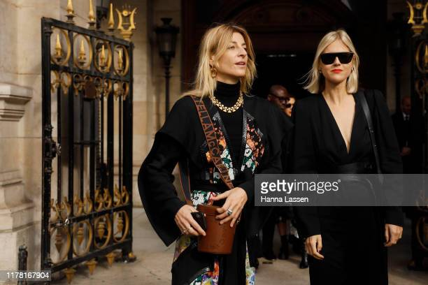 A guest wearing Stella McCartney dress and a bag outside Stella McCartney during Paris Fashion Week Womenswear Spring Summer 2020 on September 30...