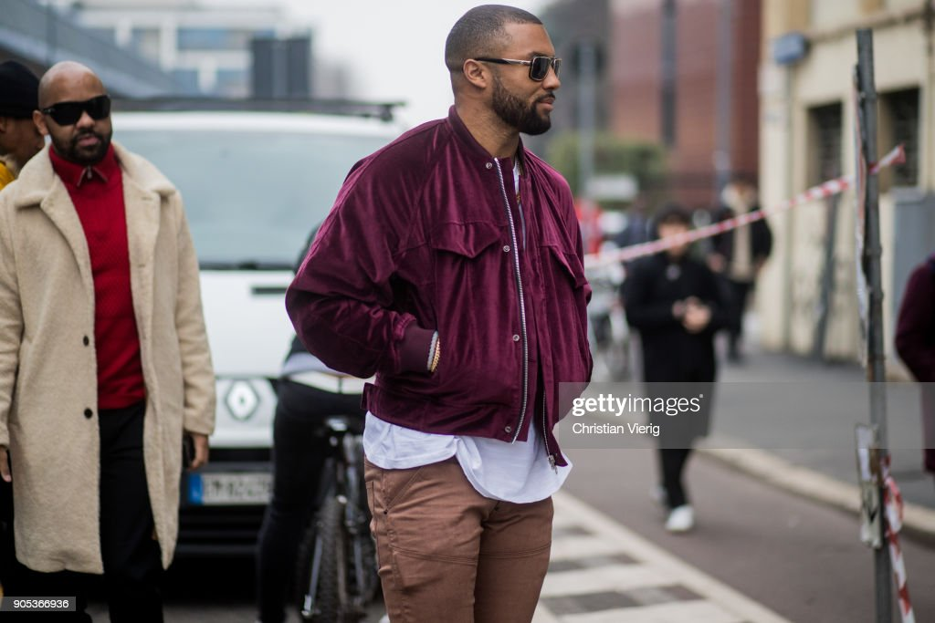 A guest wearing velvet zipped jacket is seen outside Represent during Milan Men's Fashion Week Fall/Winter 2018/19 on January 15, 2018 in Milan, Italy.