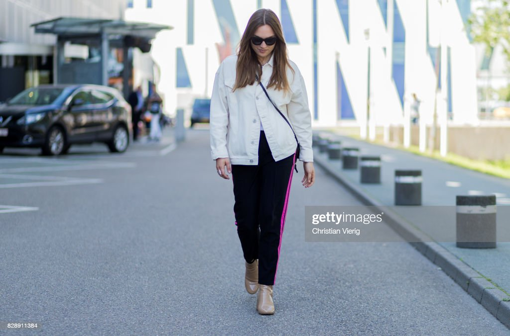 A Guest Wearing White Denim Jacket Jogger Pants On August 09 2017