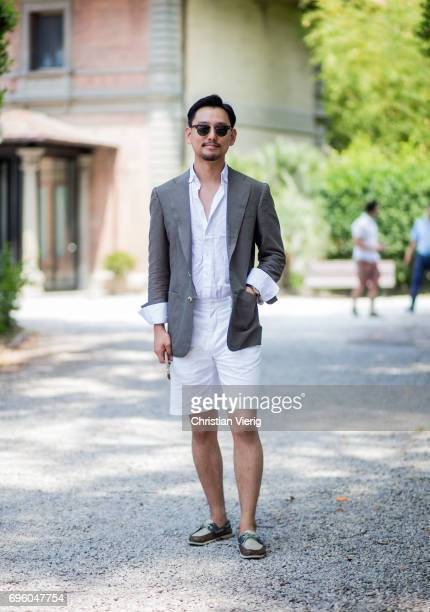 A guest wearing white shorts is seen during Pitti Immagine Uomo 92 at Fortezza Da Basso on June 14 2017 in Florence Italy