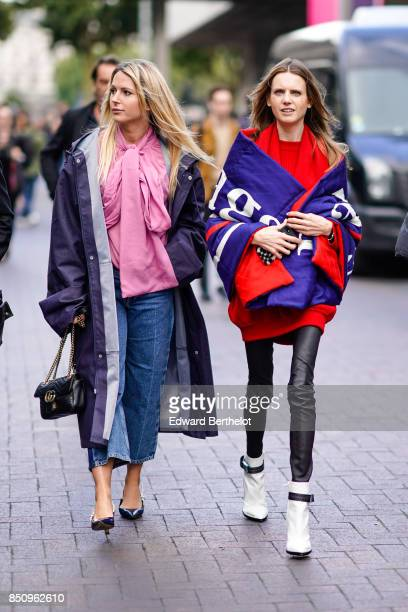 A guest wears a Balenciaga coat outside Roland Mouret during London Fashion Week September 2017 on September 17 2017 in London England