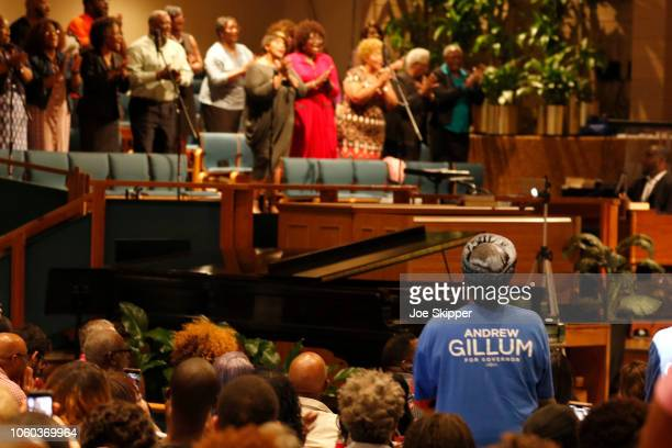 A guest wears a campaign shirt as Florida Democratic gubernatorial candidate Andrew Gillum attended a service to advocate for a vote recount at the...