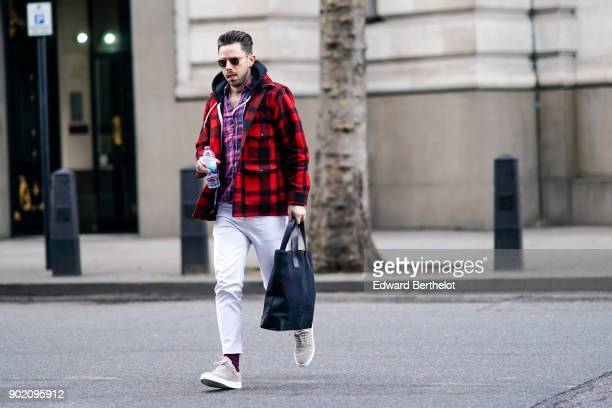 9a07d27811c50 A guest wears a red checked jacket white pants sunglasses outside John  Lawrence Sullivan during London