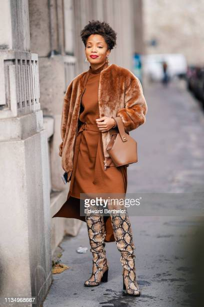 Guest wears earrings, a rust color hi-neck dress with a sliding buckle, a lustrous brown fluffy faux fur jacket, a brown bucket bag, brown python...