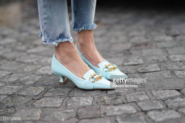 98 Blue Kitten Heel Shoes Photos And Premium High Res Pictures Getty Images