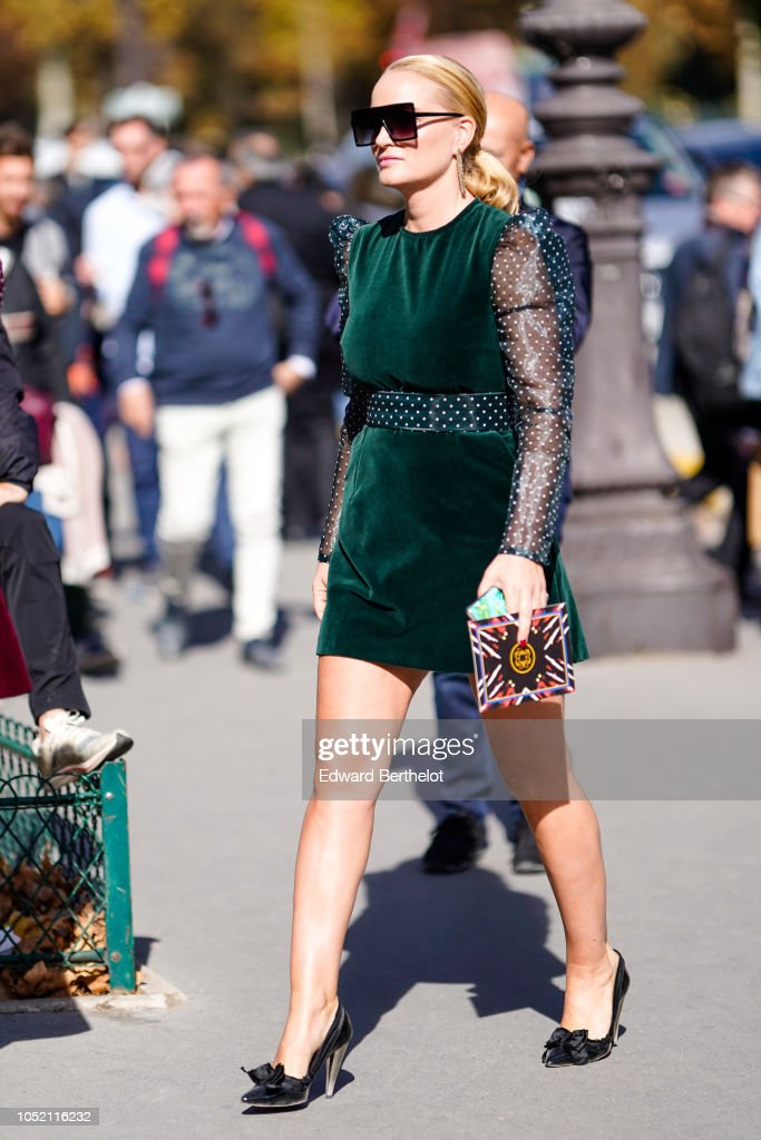 A Guest Wears Sunglasses A Green Velvet Dress With Black Lace Mesh News Photo Getty Images