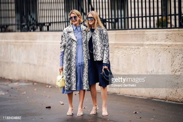 A guest wears sunglasses a grey python pattern coat a blue shirtdress a yellow bag white sandals a guest wears blue sunglasses a grey python pattern...