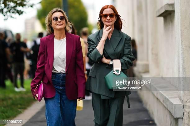 A guest wears sunglasses a white tshirt a burgundy jacket darkblue denim pants a hot pink clutch A guest wears sunglasses a forestgreen oversized...