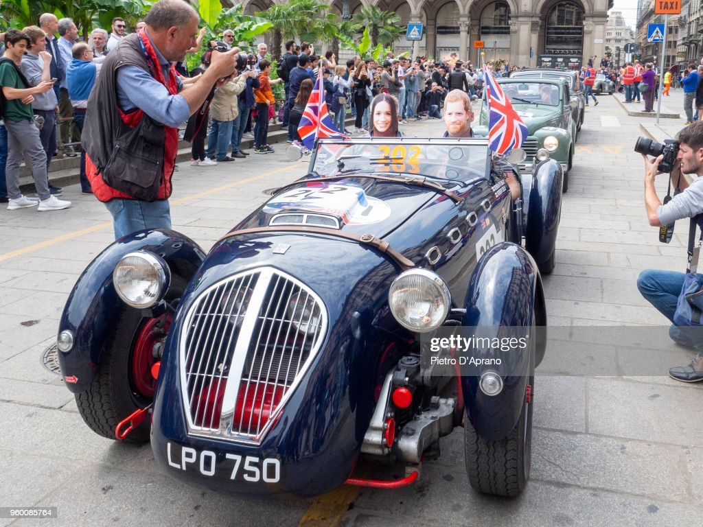 Guest whit Harry and Meghan mask attends 1000 Miles Historic Road Race on May 19, 2018 in Milan, Italy.