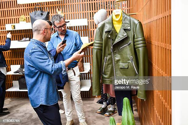 Guest with Bally Design Director Pablo Coppola at the Bally Men's Spring Summer 2016 Presentation in Milan 21st June 2015