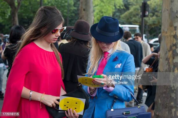 A guest with Fashion Editor for the Rake Sarah Ann Murray on day 4 of Paris Collections Men on June 29 2013 in Paris France