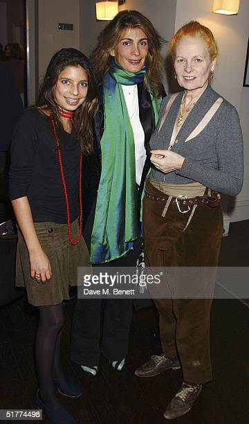Guest with Miriam Sachs and fashion designer Vivienne Westwood attend the oneoff performance of The Soldiers Tale at The Old Vic Theatre on November...