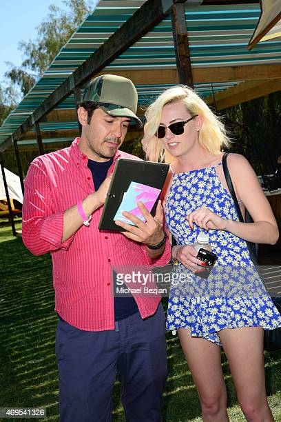 Guest with Spotify expert at theÊNeon Carnival Recovery BrunchÊhosted byÊSpotify and Paper MagazineÊat Soho Desert House at on April 12, 2015 in La...