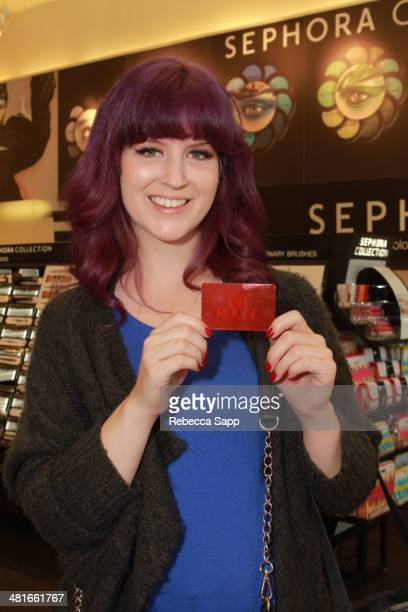 Guest with VIB Rouge membership card at the Sephora VIB Rouge Spring Social at Sephora Santa Monica on March 30 2014 in Santa Monica California