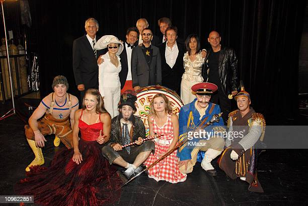 Guest Yoko Ono director Dominic Champagne Sir George Martin Ringo Starr Giles Martin Sir Paul McCartney Olivia Harrison and Cirque du Soleil founder...
