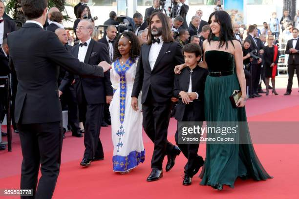 Guest Yordanos Shifera Khaled Mouzanar Zain Alrafeea and director Nadine Labaki attends the screening of 'Capharnaum' during the 71st annual Cannes...