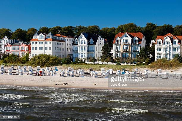 guesthouses and beach - usedom stock pictures, royalty-free photos & images