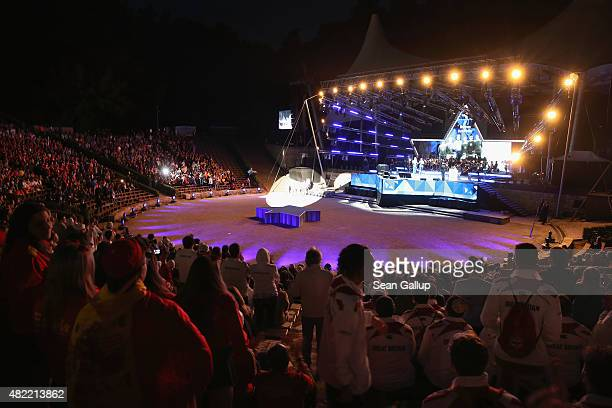 Guests and athletes attend the official opening ceremony of the European Maccabi Games at the Waldbuehne on July 28 2015 in Berlin Germany Over 2000...