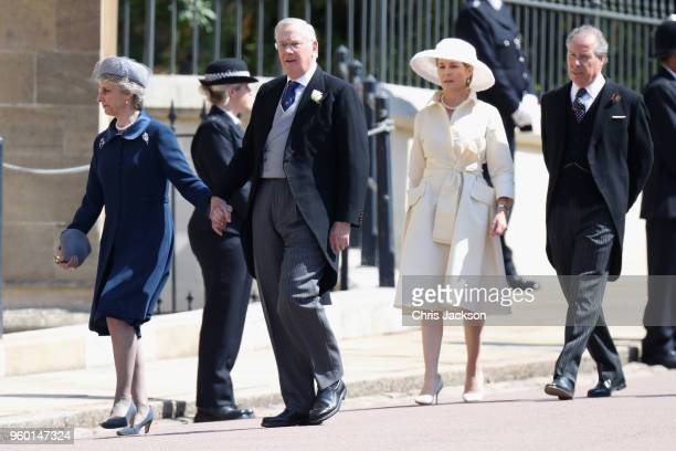 Guests and David ArmstrongJones 2nd Earl of Snowdon and Serena Stanhope attend the wedding of Prince Harry to Ms Meghan Markle at St George's Chapel...