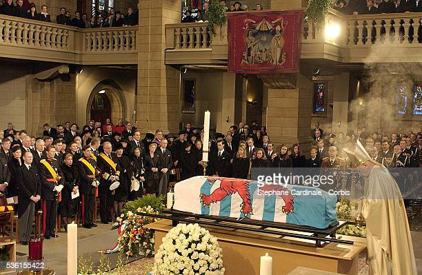 Guests and family attend the funeral of Grand Duchess of Luxembourg JosephineCharlotte daughter of former Belgian King Leopold III and sister of...