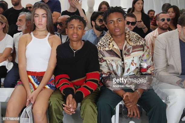 Guests and Kailand Morris attend Ih Nom Uh Nit SS19 Collection Presentation 'Midnight Special' on June 18 2018 in Milan Italy