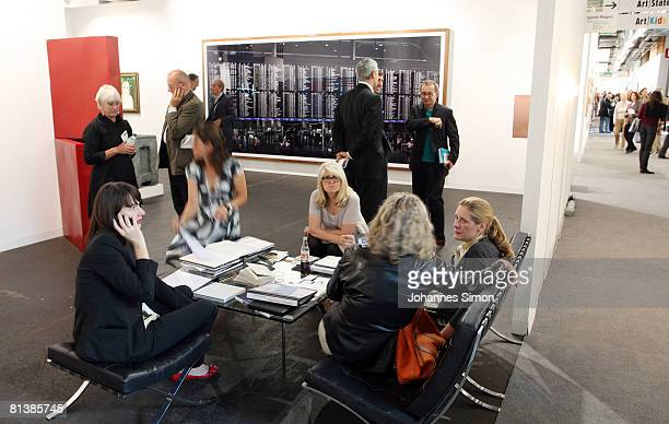 Guests and participants of the 39th edition of Art Basel are seen on June 3 2008 in Basle Switzerland The Art Basel kicks off with a vernissage for...