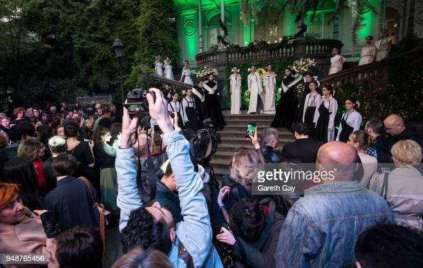 Guests and press attend the opening ceremony ahead of Tbilisi Fashion Week Day 1 on April 19 2018 in Tbilisi Georgia
