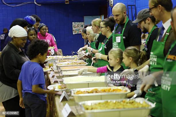 Guests and volunteers attend the Jean Shafiroff Jay Moorhead Underwrite Annual Community Thanksgiving Dinner at NYC Mission Society at Minisink...