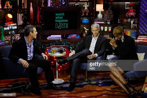 LIVE Guests Anderson Cooper and NeNe Leakes Pictured Host Andy Cohen Anderson Cooper NeNe Leakes