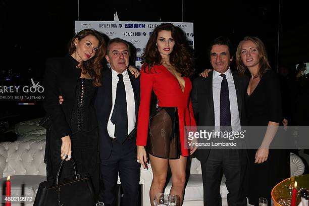 Guests Andrea Biavardi Dayane Mello and Urbano Cairo attend the Formen Maxi Calendar Presentation on December 9 2014 in Milan Italy