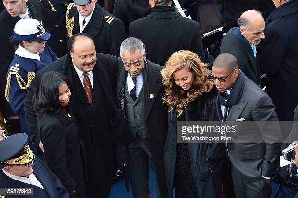 Guests Andrea Waters Martin Luther King III Rev Al Sharpton Beyonce Knowles and her husband JayZ before the start of the 57th Presidential...