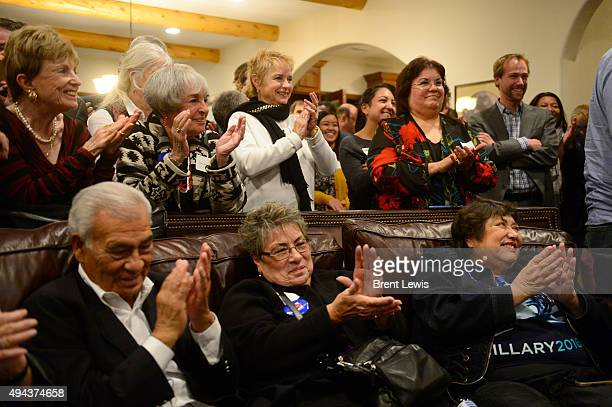 Guests applaud during former Los Angeles Mayor Antonio Villaraigosa speech October 26 2015 at Ken Salazar's home Former Secretary of the Interior Ken...