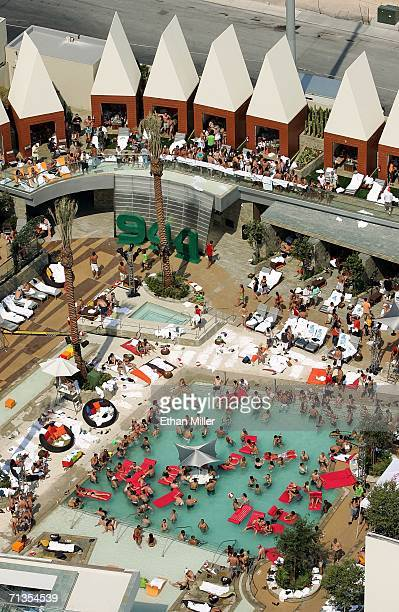 Guests are seen at the unveiling of the USD 40 million pool opening and 944 magazine anniversary party at the Palms Casino Resort July 1, 2006 in Las...
