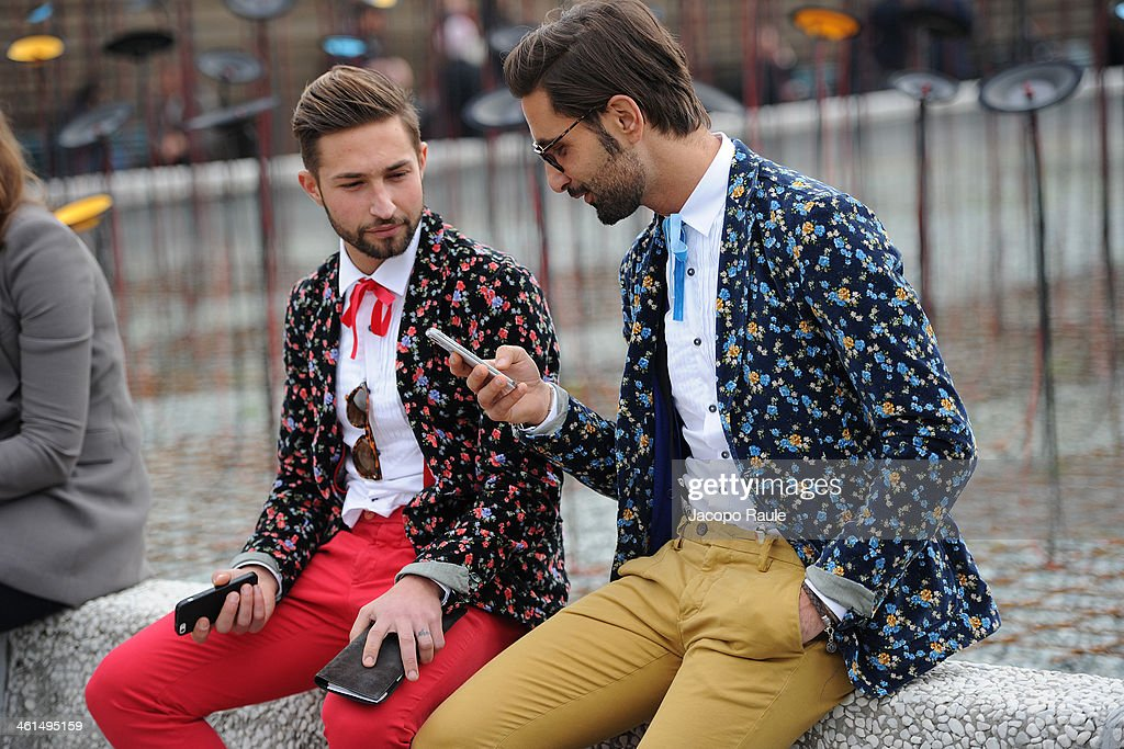 guests are seen during Pitti Immagine Uomo 85 on January 9, 2014 in Florence, Italy.