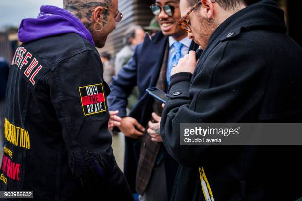 Guests are seen during the 93 Pitti Immagine Uomo at Fortezza Da Basso on January 11 2018 in Florence Italy