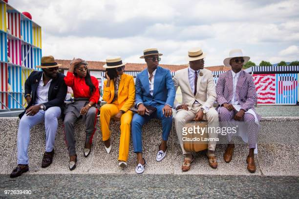 Guests are seen during the 94 Pitti Immagine Uomo at Fortezza Da Basso on June 11 2018 in Florence Italy