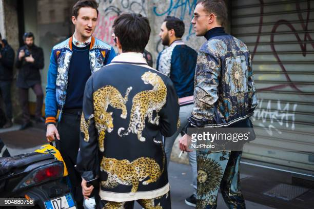 Guests are seen on the set of the Dolce amp Gabbana Advertising Campaign street style during Milan Men's Fashion Week Fall/Winter 2018/19 on January...