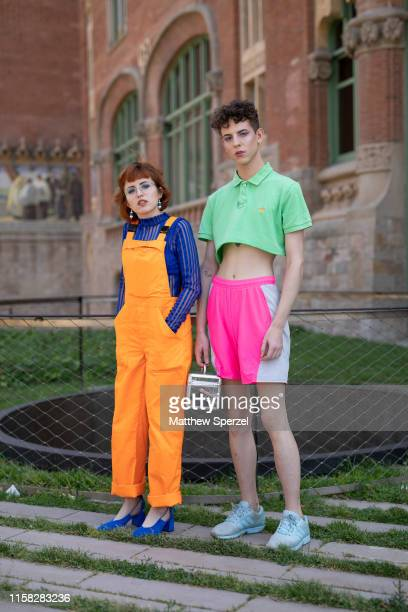 Guests are seen on the street attending 080 Barcelona Fashion week on June 25 2019 in Barcelona Spain