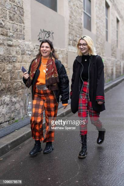 Guests are seen on the street attending Andrea Crews during Men's Paris Fashion Week AW19 on January 19 2019 in Paris France